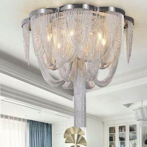 Modern silver decorative ceiling lamp for living room ceiling light with golden fringe For bedroom Aluminum light for kitchen