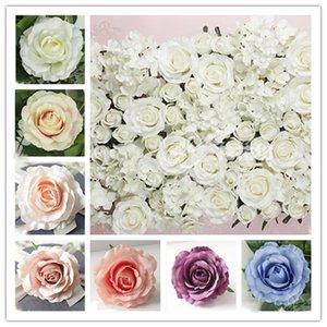 Flor de parede Chefes 100PCS 22Colors 12CM Artificial Rose Flower Silk Supermercado decorativo Fundo DIY Estrada Led Wedding Bouquet Props