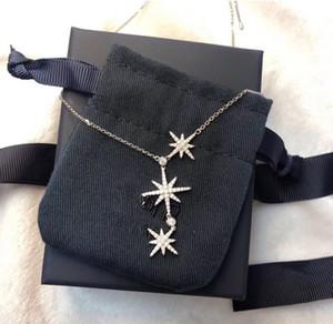 Luxus Klassische Designer S925 Sterling Silber Vollzirkon Dreifach Meteoriten Stern Anhänger Halskette Für Frauen schmuck