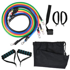 11pcs Fitness Resistance Bands Set Workout Exercise Tube Bands with Door Anchor Ankle Straps Cushioned Handles Bags for Home Gym