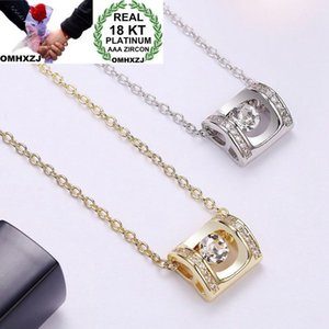 OMHXZJ Wholesale Personality Fashion Woman Girl Party Gift Square Zircon 18KT Gold White Gold Charm Pendant Necklace CH85