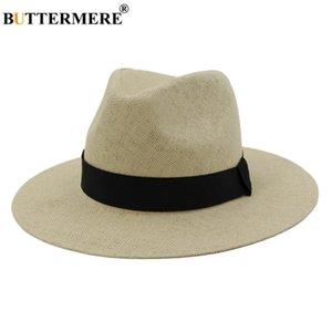 BUTTERMERE Panama Hat Summer Sun Hats for Women Man Beach Straw Hat for Men UV Protection Cap Beige Sunhat Chapeau Sombrero
