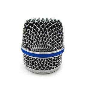 Майк Часть Silver Cover Mesh Гриль для вокального микрофона Replcement с Кремний синяя полоса микрофона гриль