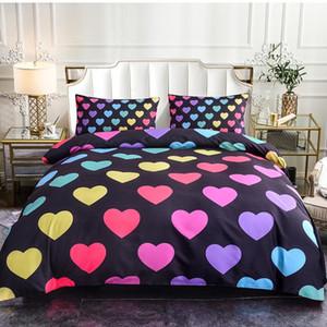 Camera da letto Decor Hearts pattern Bedding Set per adulti Ragazze Ragazzi regalo 2 / 3pcs Queen Size copripiumino Moda Copriletto