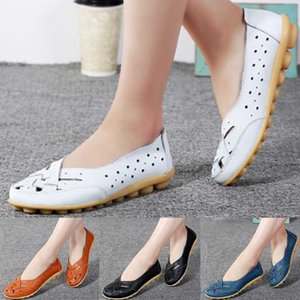 Mother Women Shoes Sandals Flats Hollow Out Genuine Leather Slip On Loafers Casual Vintage Plus Size 35 -44