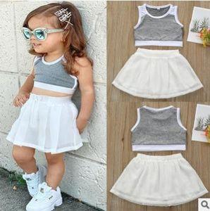 Костюм 2020 девочек-Ся рукавов верхней части пробки подтяжками футболка белый шифон юбка девушки юбки двухсекционный костюм