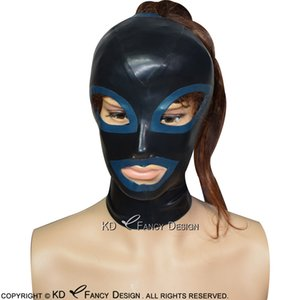 Black Sexy Latex Hoods With Ponytail Holes Zipper Back Open Eyes Nostril Mouth With Blue Trims Pony Tail Rubber Masks TT-0173