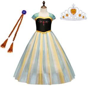 New Snow Queen Princess Kinder Kinder Kostüme Geburtstags-Party-Halloween-Kostüm Cosplay verkleiden sich für kleine Mädchen 3-12 Jahre HH9-2317