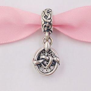Otantik 925 Gümüş Boncuk Düğümlü Kalp Dangle Charm Charms Avrupa Pandora Stil Takı Bilezikler Kolye 798095CZ uyar