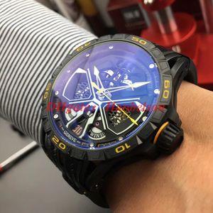 Reloj де Lujo Мужские часы RDDBEX0792 Скелет циферблат RD автоматические часы Спортивный автомобиль черный PVD Стальной корпус Встроенный кожаный резинкой Uhren