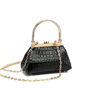 BARGH VIAN BV female bag retro crocodile pattern handbag mini premium texture metal handle hand bag