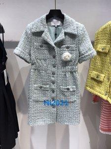 2020 высокие женщины девочки рубашка платье твид отворот шеи короткий рукав один ряд кнопок-линии мини-юбка дизайн одежды роскошные платья