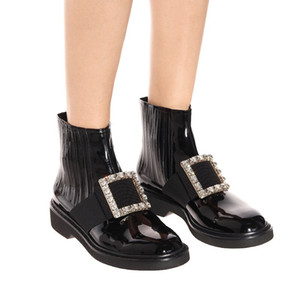Hot Sale-Winter designer boots female round flat heel comfortable stretch boots fahison leather black slip-on ankle martin botas