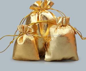 100 pz / lotto oro placcato garza satinata borse gioielli gioielli coulisse organza sacchetti regalo di natale sacchetto di imballaggio 7x9 cm 9x12 cm