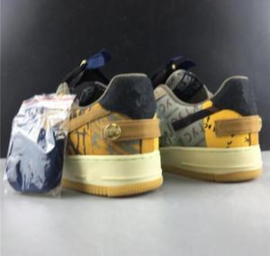 Nike Air Force 1 PourING 1 Un Velvet Multi Color Brochage Fermeture à glissière TS AA Travis Chaussures de course pour homme sport Entraîneur Femmes Mode Forcé Chaussures -1