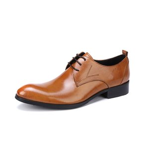 Genuine Leather Shoes For Men Lace Up Oxfords British Pointed Toe Business Man Wedding Dress Shoes Party Prom Plus Size Footwear