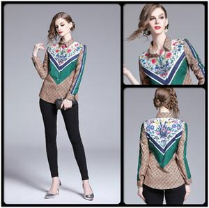 Mejor venta del tamaño extra grande de rayas impreso floral camisas Primavera Otoño de pista de las mujeres blusas de la camisa manga larga de señora de la oficina de visita delgada Tops