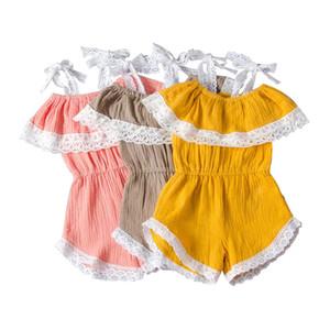 유아 소녀 레이스 장난 꾸러기 유아 주름 스플 라이스 레이스 바디 수트 유아 아기 신생아 여자 캐주얼 의류 코튼 리넨 아기 Romper 2-7T 060423