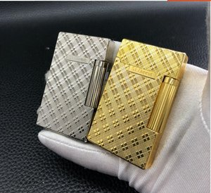 Beautiful full copper Langsheng inflatable lighter flip side sliding personality steel sound boutique gift package