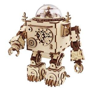 2020010974 головоломки 3D Music Box Деревянный Craft Kit Robot Machinarium игрушка со светом