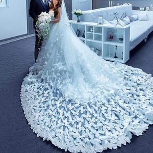 Mariposa Velos de novia Tul suave Dos capas Velos de novia de encaje Por encargo Borde aplicado Velo de lujo para vestido de novia Envío gratis