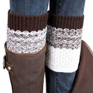 New Winter Knitted Leg Warm Boot Cover Leg Warmers Women Patchwork High Polainas Ladies' Crochet Long Socks 8C1697