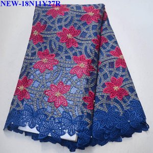 gelinlik 5yards için yüksek kalitede Kraliyet mavi işlemeli Afrika dantel kumaş Boncuklu gipür kord dantel kumaş / lot WQ-005
