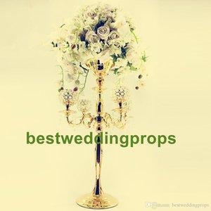 15pcs)Wholesale elegant fashion and new design tall Crystal trumpet vase, Gold crystal flower vase for wedding best0638