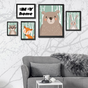 Dipinti degli animali del fumetto dei bambini in camera simpatico orso Fox coniglio Raccoon decorazioni Pitture Soggiorno poster decorazione del partito No Frame DBC DH1376