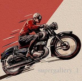 Motor moto vintage Oil do piloto do café pintura em tela Home Decor Wall Art imagem de alta Quaity pintado à mão HD impresso Modern Abstract Pop Ar