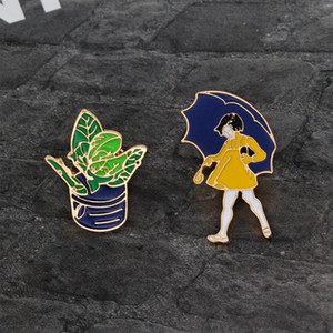 Hard Enamel Pins Little Girl with Umbrella & Potted Plant Cute Jewelry for Girls Child Women Pins and Brooches