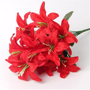 Yeni Zambak çiçekleri toptan simülasyon Lily 10 kafaları zambak çiçeği düğün çiçeği ev dekorasyon çiçekler 5981