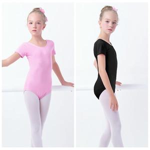 Gros enfants d'été filles enfants gymnastique justaucorps coton spandex manches courtes ballet de danse latine Body Costumes
