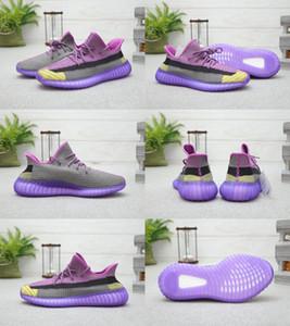2020 New Kanye West Noix de coco transparent Gaze sport violet noir Chaussures de course pour homme femme Top qualité Sneakers Mode Taille 36-46