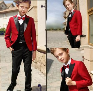 Blue Flower Boys Children Wedding Groom Tuxedos Kid's Formal Party Prom Suits 3 pieces (jacket + pants + vest)