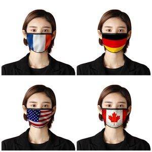 Masques Masque crème solaire bouche Prints drapeau national Anti Saliva poussière Protection Respiratoire visage respirant Mascherine nous Canada Japon 2 7BR E19d