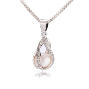 925 Silver Screw Teardrop Pearl Cage Pendant Helix Cage Pendant Mounting For DIY Locket Necklace Lock In Oyster Pearl
