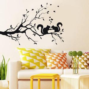 سنجاب في لونغ شجرة فرع الجدار ملصق الحيوانات القطط الفن ملصق الاطفال ديكور غرفة الحديثة شارات الجدار الديكور المنزل غرف النوم