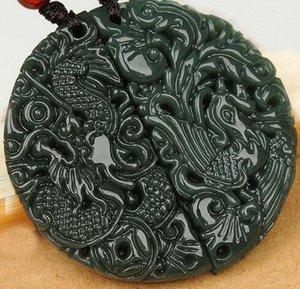Amantes hetian Natural QINGYU Longfeng semicírculo dragón macho Fénix hembra Yu Pei colgante