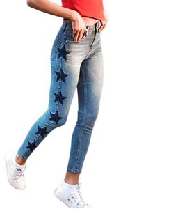 2020 New Women's Vintage Star Embroidery Jeans Stretch Denim Pants Female Skinny Trousers For Women