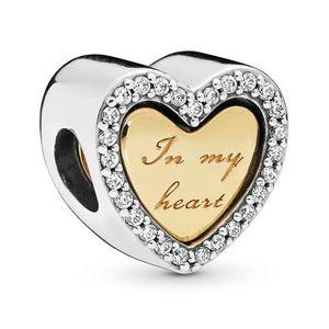 My Heart Charm Fit Pandora Bileklik Gerdanlık Diy Takı Özgün 925 Gümüş Boncuk Charm Altın Renk SHINE Gümüş