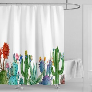 Cactus colorés imperméables adaptés aux besoins du client de cactus de flos rideaux de douche de fleurs de 3D impression de Digital avec des anneaux