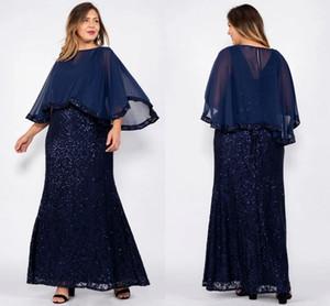 Navy Blue Pailletten Mantel Mutter der Braut Kleider Wuth Schal Günstige Chiffon Lange Mutter Abendkleider Plus Size Eveninfg Prom Dresses