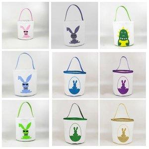 Пасха Bucket корзины Пасхальный заяц корзины кролика яйцо конфеты Barrel Динозавр Monogram Canvas сумки Tote Easter партия украшения C7282