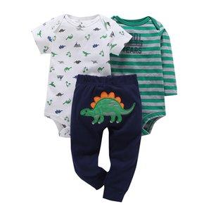 Cartoon Dinosaurier Print Strampler + hose Sommer Outfit Für Neugeborene Jungen Mädchen Kleidung Baumwolle Neugeborenen Anzug Babys Kleidung Set Y19050801
