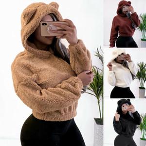 Las mujeres paño grueso y suave del oído del oso de lana sudaderas con capucha 2019 de invierno de manga larga sudadera capa ocasional de la cremallera de la camiseta de felpa mullida Sólido