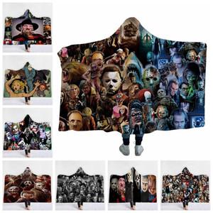 Horror Kapuzendecken 3D-Druck Horror-Film-Charakter Gothic Halloween Killer Decke Sherpa Fleece Wearable Teppich GGA2168 Werfen