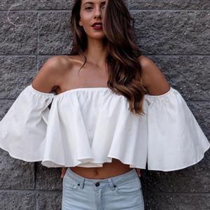 Primavera elegante blusa de las señoras del verano de la llamarada de la manga Hombro sólido Tank Tops Camisas de cultivos cosechados Nuevos suéteres de vestuario