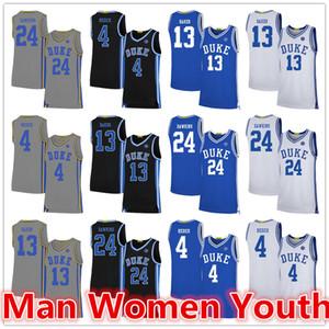 personalizado Duke Blue Devils basquete jerseys JJ Redick 4 Joey Baker 13 Johnny Dawkins 24 jersey qualquer tamanho número de nome S-5XL