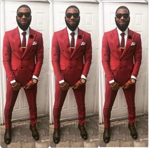 Newest Double Breasted Wedding Groom Tuxedos Peak Lapel Groomsmen Mens Dinner Blazer Suits (Jacket+Pants+Tie) 263